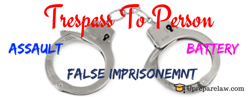 Trespass To Person : Assault, battery and False Imprisonment Notes in Torts Law